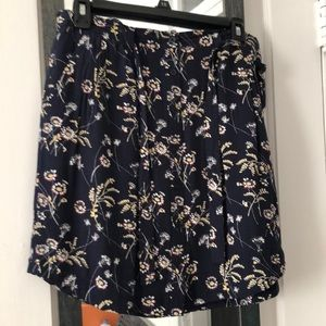 Loft rayon navy skirt with floral print